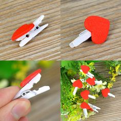 20Pcs Heart Wooden Pegs Red Paper Photo Clips Craft Wedding Decor - Wedding Look