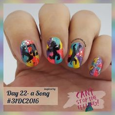 """Day 22 - inspired by a song #31dc2016 --------------------- - - - -  I chose """" Can't stop the feeling!"""" by #justintimberlake !! This song gets my spirit soaring and uplifts me almost as much as @JamesBlunt does.  This deserves a mention because we all know how I feel about JB. 😍😍😍😍😍😍😍😍😍😍 --------------------------- - - - - -  Used #Yardley -  purple paradise,  #essence -  wanna be your sunshine,  #chinaglaze -  what I like about blue,  #LAGIRL -  blackout,  #wow -  360.  All nail…"""