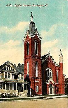 Waukegan Illinois IL 1908 Baptist Church Collectible Antique Vintage Postcard