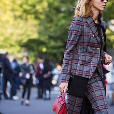 Plaid proves it's staying power on the streets of #PFW. #StreetStyle by theurbanspotter