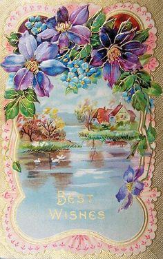 pearlriverworld Birthday Postcards, Vintage Birthday Cards, Vintage Greeting Cards, Illustrations Vintage, Vintage Artwork, Vintage Prints, Decoupage Vintage, Vintage Ephemera, Vintage Paper