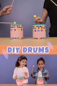 Your little ones will have a blast making music and banging away on their very own drums made out of items you probably already have at home! Musical instruments help children with their sensory development as they explore the different shapes and sounds. Instrument Craft, Homemade Musical Instruments, Making Musical Instruments, Summer Crafts For Toddlers, Toddler Crafts, Preschool Crafts, Diy For Kids, Music Activities For Kids, Drums For Kids