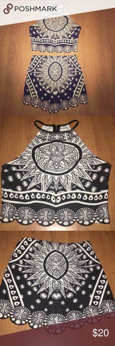 Jealous Tomato 2 piece tank top & shorts set An abstract 2-piece set by Jealous Tomato. Black and White print with zipper closures on the back of the tank top and side of the shorts. Perfect for summer! Never worn! Both are size small Jealous Tomato Tops Tank Tops