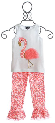 Mud Pie Girls Flamingo Summer Outfit