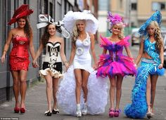 Girls from My Big Fat Gypsy Wedding arrived at Aintree Racecourse looking more sober. From left to right Claire Marie, Shamilia, Biddy, Shannon and Lizzie