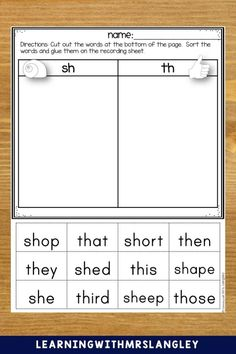 Perfect for Word Work! Cut, sort, and glue Digraph words. Includes ch, sh, wh, tch words. Multiple sorts to differentiate between digraph sounds and also includes th/t sort, sh/s sort, wh/w sort. Directions encourage fast finishers to flip over the page and draw/write a sentence for one of the words.
