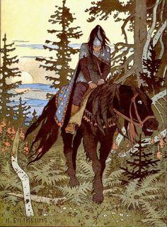 The Black Horseman from Vasilisa the Beautiful, illustrated by Ivan Bilibin.
