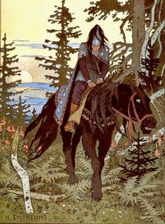 The Black Horseman from Vasilisa the Beautiful, illustrated by Ivan Bilibin.