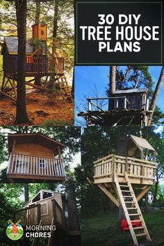 30 Free DIY Tree House Plans to Make Your Childhood (or Adulthood) Dream a Reality From simple tree house plans for kids to the big ones for adults that you can live in. If you're looking for tree house design ideas, read this article. Backyard Treehouse, Building A Treehouse, Backyard Trees, Treehouse Ideas, Playhouse Ideas, Backyard House, Magic Treehouse, House Tree Plants, Simple Tree House