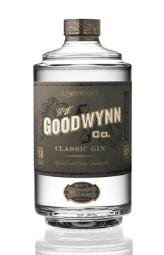 Goodwynn Gin by Cult Partners(Alcohol Bottle Design) Cool Packaging, Beverage Packaging, Bottle Packaging, Bottle Labels, Brand Packaging, Beer Labels, Design Packaging, Coffee Packaging, Alcohol Spirits