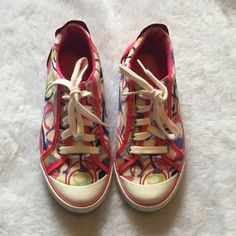 Coach Barrett poppy sneakers  Coach Barrett poppy sneakers  Size 7.5  Authentic  Gently used. Freshly washed, some discoloration from the bright pink reflected in price  Please ask for additional pictures, measurements, or ask questions before purchase. No trades or other apps Ships next business day, unless noted in my closet  Five star rating Bundle for discount Coach Shoes Sneakers