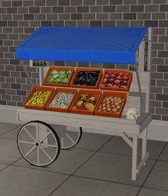 """"""" Two objects converted for (+ recolours) The lemonade stand was cloned from its default counterpart, and is therefor functional. However, it cannot be kicked into destruction; I thought. Sims Four, Sims 2, Vegetable Rack, Objects, Destruction, Lemonade, Sims Ideas, Community, Kos"""