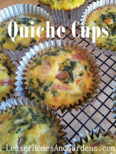 Ham & Spinach Quiche Cups. Could also substitute broccoli for spinach