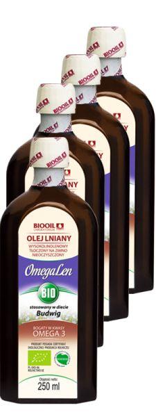 OmegaLen BIO olej lniany ekologiczny tłoczony na zimno PAKIET 4x250ml - Zestawy