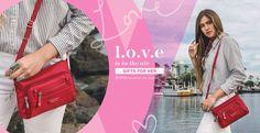 #loveisintheair this Valentine's Day. Hemet Leather Trimmed Small Travel Crossbody Bag in Jester Red by Beside-U #crossbodybag #BesideU