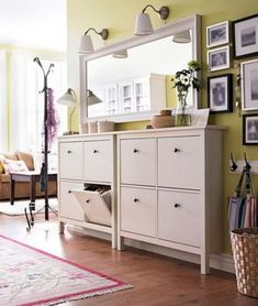 Outstanding Small Entryway Cabinet Design Ideas - Page 23 of 39 Hallway Storage Bench, Entryway Cabinet, Ikea Hemnes Shoe Cabinet, Shoe Storage Cabinet, Shoe Cabinet Design, Coat Storage, Small Entryways, Hallway Decorating, Decorating Ideas