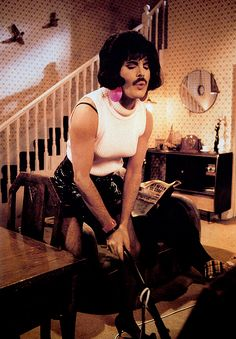 fuckyeahmercury:  Freddie Mercury on the set of 'I Want To Break Free' video, 1984.Photo by Simon Fowler