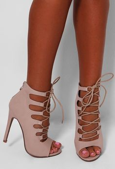 Monique Nude Leatherette Lace Up Heels | Pink Boutique fashion,style,outfit,streetstyle