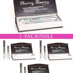 Cherry Blooms Mascara Brush On Fiber Eyelash Extension 3-Pak Bundle