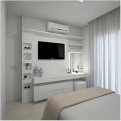 Bedroom Tv Wall, Bedroom Closet Design, Girl Bedroom Designs, Small Room Bedroom, Small Rooms, Home Decor Bedroom, Master Bedroom, Bedroom Ideas, Bedroom With Tv