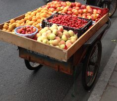 Bicycle cart with summer fruit, Shanghai China