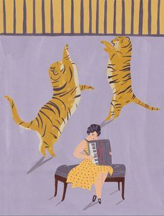 Tigers and accordionist circus giclee print by naomiwilkinson