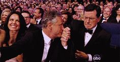 This mock tense moment at the Emmys… | Community Post: 14 Reasons Why Jon Stewart & Stephen Colbert's Bromance Is The Greatest [GIFs]