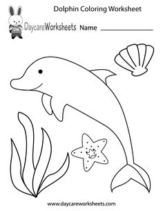 Preschoolers can color in a dolphin, starfish, seashell, and an aquatic plant in this free activity worksheet.
