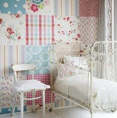 Patchwork wallpaper - you could do a wall in this entirely from samples!