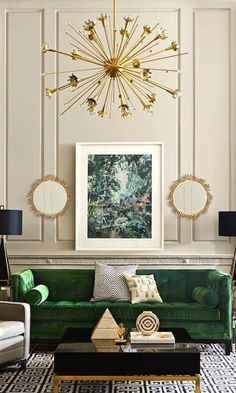 Jonathan Adler Shares the 5 Pieces that instantly elevate your space. After all, it's spring and you need a chic upgrade for your apartment or home. We love this gold chandelier and green sofa...