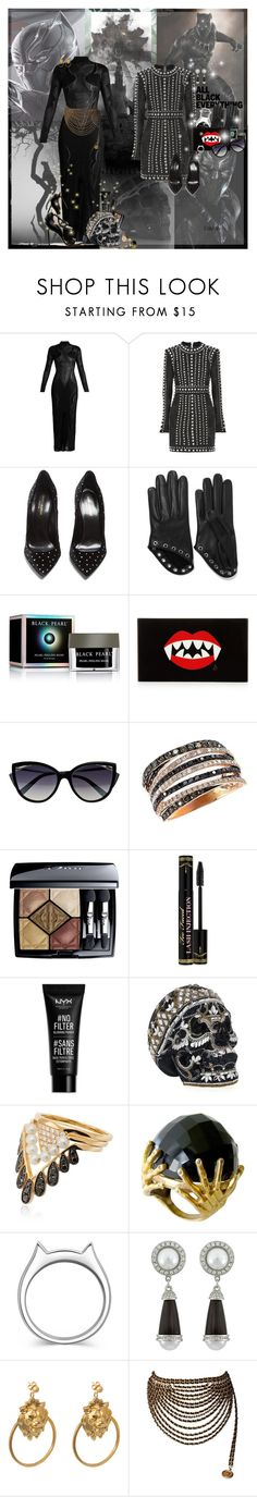 """""""Black Panther"""" by lady-redrise ❤ liked on Polyvore featuring Marvel, Balmain, Yves Saint Laurent, Alexander McQueen, Charlotte Olympia, La Perla, Effy Jewelry, Christian Dior, Too Faced Cosmetics and NYX"""