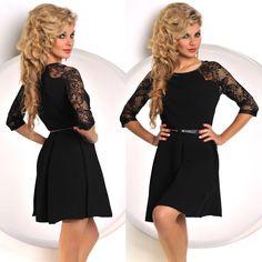 Hochwertiges #Damenkleid mit Gürtel in der klassischen Farbe schwarz. Modische Spitze Mutserungen an den jeweiligen Ärmel sowie teils am Rücken. #mode #catwalk