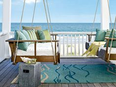 Porch swing/bed to dream on!  I love the rug too!