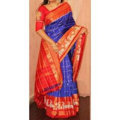Kanchi Border Enriched Designer Ikat Royal Blue Jari Checked Saree,Grand Looking Saree. Huge Range Of Ikat Sarees Provide And Low Price, Best Quality.