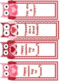 FREEBIE! Valentine Bookmarks and Printables! - for teachers to give to students