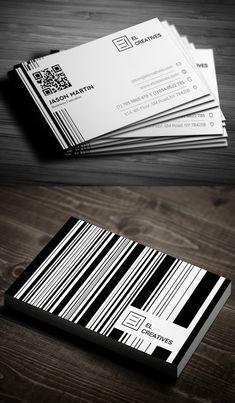 Creative Bar code Business Card #businesscards #branding #logodesign #businesscardtemplate #photoshoppsdfiles