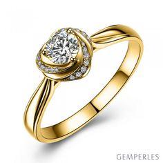 Solitaire or jaune et diamants - Bague Mon Coeur de Rose #solitaire #orjaune #diamants #bague