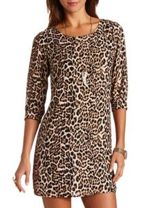 Leopard print long sleeved dress from Charlotte Russe