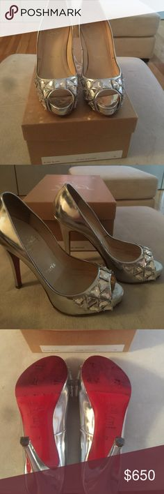 Authentic Christian louboutin bling bling pump Authentic Christian louboutin silver bling bling open toe pump. Box included. Limited edition worn a few times. Soles were redone and placed rubber over it for protecting the red soles. Mint condition. Christian Louboutin Shoes Heels