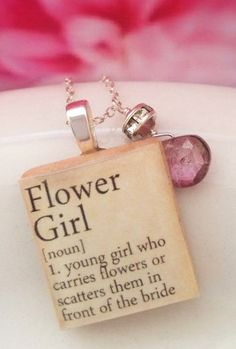 Flower Girl Scrabble Charm Sterling Silver  *Mols- this is cute if you are asking anyone to be your flower girl...