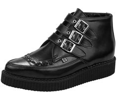 Black Leather 3 Buckle Pointed Creeper Boots