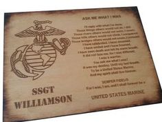 Personalized USMC - Ask Me What I Was - Oak Stained Retirement Plaque- Marine Corps Veteran - USMC retirement gift