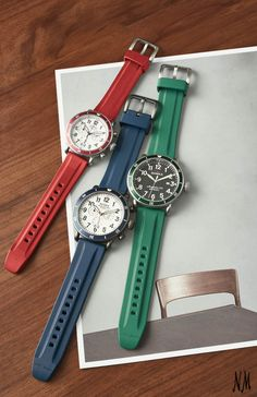 "Shinola ""The Runwell"" stainless steel watches with red, blue and green rubber straps make the perfect sporty addition for the timepiece collector. For Father's Day, make this your dad's new everyday watch."