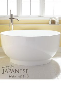 Kaimu Acrylic Japanese Soaking Tub - Kim Violante - Kaimu Acrylic Japanese Soaking Tub With a modern yet traditional style, a Japanese soaking tub is the perfect addition to your bathroom remodel. Use it for a comfortable and soothing bath. Japanese Soaking Tubs, Japanese Bathroom, Deep Soaking Tub, Asian Bathroom, Bathroom Colors, Bathroom Sets, Master Bathroom, Bathroom Mirrors, Master Shower