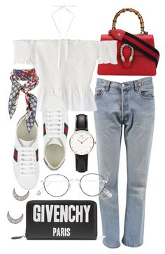 """""""Untitled #21501"""" by florencia95 ❤ liked on Polyvore featuring Gucci, Levi's, Ahlem, Daniel Wellington, Givenchy and Finn"""