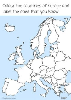 Colour Europe and label the countries. European map colouring page printable for kids