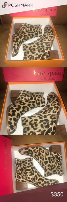 ♠️KATE SPADE fall17 NWT leopard boots NWT KATE SPADE fall '17 leopard calf hair boots. GORGEOUS boots that are great quality! Never been worn, just tried on! Purchased at Kate spade fall 2017 preview event for $400 w/tax. Classic leopard print can be worn with anything (its consider a neutral in my closet!) only willing to let these beauties go for the right price so make an offer or add to bundle for discount and I'll send you my best offer 😊 size 7. kate spade Shoes Ankle Boots & Booties