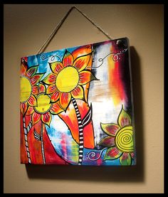 Abstract Flowers 12x11 Acrylic Painting on Wood by tuesdaydesigns, $40.00