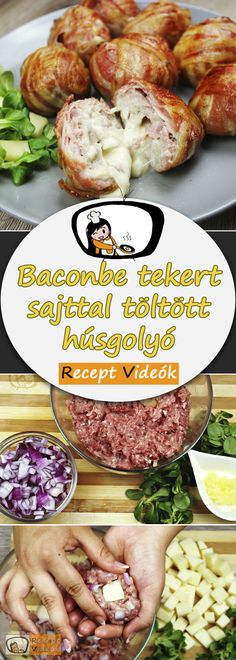 Meatballs stuffed with cheese wrapped in bacon - Cheese-filled meatballs wrapped in bacon, recipe videos, simple recipes, minced meat recipes, lunch - Hamburger Meat Recipes, Meatloaf Recipes, Minced Meat Recipe, Cheese Wrap, Healthy Eating Tips, Whole 30 Recipes, Simple Recipes, Cheese Recipes, Lunch Recipes
