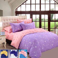 4Pcs Suit Star Moon Cotton Reactive Printed Bedding Sets